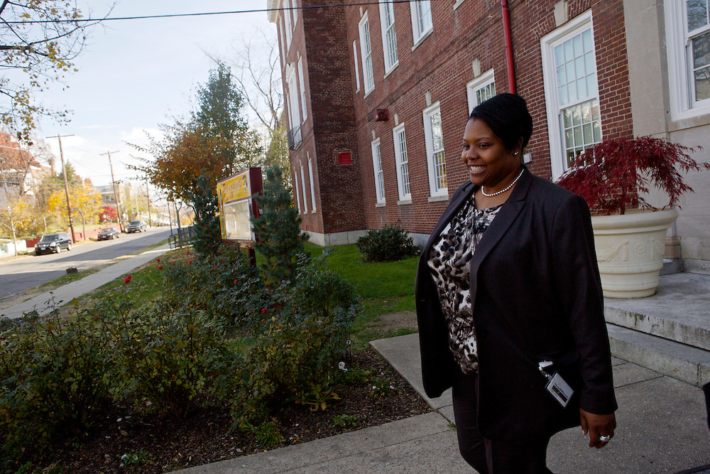 D.C. Public Schools Chancellor Kaya Henderson leaves Truesdell Education Campus after a walk-through Friday, Nov. 16, 2012 in Washington, D.C. Henderson recently announced that she plans to close 20 under-enrolled schools across the district. CREDIT: Lexey Swall for The Wall Street Journal