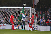 Scott Flinders with another fine save during the Pre-Season Friendly match between York City and Newcastle United at Bootham Crescent, York, England on 29 July 2015. Photo by Simon Davies.