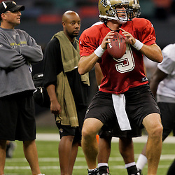 24 August 2009: New Orleans Saints quarterback Drew Brees (9) looks to throw during New Orleans Saints training camp practice at the Louisiana Superdome in New Orleans, Louisiana.