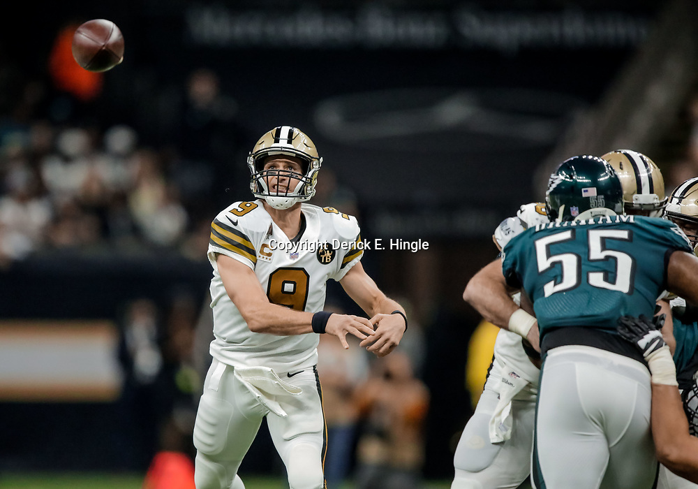 Nov 18, 2018; New Orleans, LA, USA; New Orleans Saints quarterback Drew Brees (9) throws against the Philadelphia Eagles during the second quarter at the Mercedes-Benz Superdome. Mandatory Credit: Derick E. Hingle-USA TODAY Sports