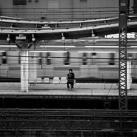 Passenger waiting his train at Saitama's train station near Tokyo