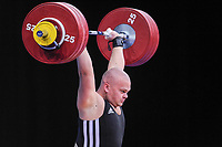 Mart SEIM (EST) in the clean and jerk, The London Prepares Weightlifting Olympic Test Event, ExCel Arena, London, England Decemb
