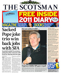 The Scotsman Front Page 08/01/2011 - image of fromer Labour MP David Chaytor..Picture by Mark Larner/Central News. Picture shows David Chaytor arriving at Southwark Crown Court at 07.55am. 07/01/2011...Mr Chaytor, former Labour MP for Bury North, was jailed today for false accounting on his expense claims.