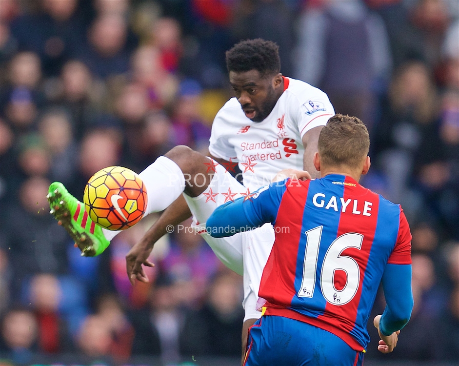 LONDON, ENGLAND - Sunday, March 6, 2016: Liverpool's Kolo Toure in action against Crystal Palace during the Premier League match at Selhurst Park. (Pic by David Rawcliffe/Propaganda)
