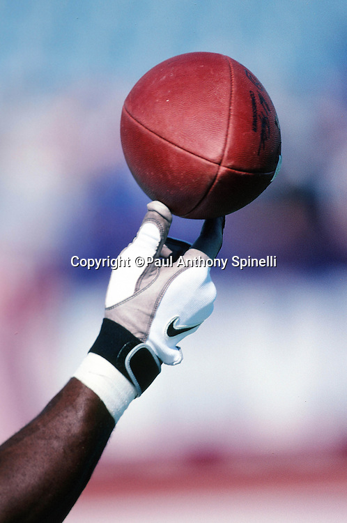A player tips a ball during the Buffalo Bills NFL football game against the Jacksonville Jaguars on Oct. 18, 1998 in Orchard Park, N.Y. The Bills won the game 17-16. (©Paul Anthony Spinelli)
