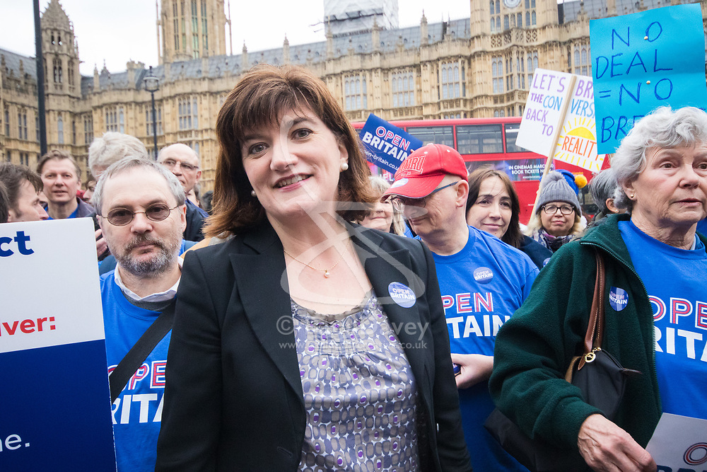 London, March 29th 2017. Open Britain protesters demonstrate outside Parliament as Prime Minister Theresa May triggers Article 50, beginning formal divorce proceedings as Britain leaves the European Union. The protesters demand that those in charge of the brexit negotiations are held to account:. PICTURED: Former Education Secretary Nicky Morgan.  ©Paul Davey<br /> FOR LICENCING CONTACT: Paul Davey +44 (0) 7966 016 296 paul@pauldaveycreative.co.uk