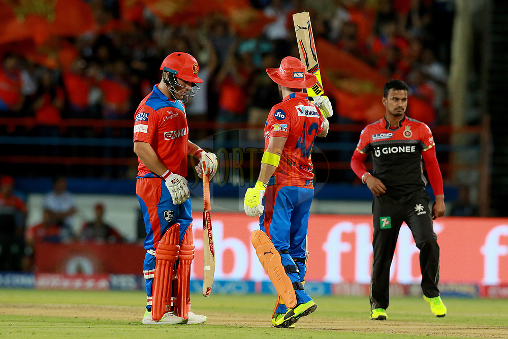 Brendon McCullum of GL fifty during match 20 of the Vivo 2017 Indian Premier League between the Gujarat Lions and the Royal Challengers Bangalore  held at the Saurashtra Cricket Association Stadium in Rajkot, India on the 18th April 2017<br /> <br /> Photo by Rahul Gulati - Sportzpics - IPL