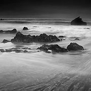 San Simeon Beach Outgoing Surf - Dusk -  Black & White