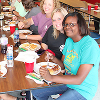 (Floyd Ingram / Buy at photos.chickasawjournal.com)<br /> Teachers at Houlka Attendance Center enjoyed barbecue with all the fixings at the annual CDF Welcome Back Teachers luncheon last week. Door prizes and a special goody bag were handed out to 53 teachers.