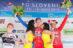 Second placed Jan Polanc (SLO) of Radenska, winner Radoslav Rogina (CRO) of Adria Mobil and third placed Patrik Sinkewitz (GER) of Maridiana Kamen during flower ceremony after the Stage 3 from Skofja Loka to Vrsic (170 km) of cycling race 20th Tour de Slovenie 2013,  on June 15, 2013 in Slovenia. (Photo By Vid Ponikvar / Sportida)