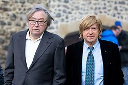 © Licensed to London News Pictures. 13/12/2018. London, UK. Former Conservative MP David Mellor (left) and Michael Fabricant MP speaking in College Green. Yesterday, British Prime Minister Theresa May won the backing of her party to stay on as Prime Minister, following a vote of no confidence, after she postponed the vote on her EU withdrawal deal. Photo credit : Tom Nicholson/LNP