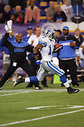 MINNEAPOLIS - NOVEMBER 21:  Kick returner Eddie Drummond #18 of the Detroit Lions runs back the opening kickoff for a 92 yard touchdown against the Minnesota Vikings at the Hubert H. Humphrey Metrodome on November 21, 2004 in Minneapolis, Minnesota. The Vikings defeated the Lions 22-19. ©Paul Anthony Spinelli  *** Local Caption *** Eddie Drummond