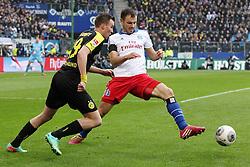Football: Germany, 1. Bundesliga<br /> Kevin Groskreutz (Borussia Dortmund, BVB),  Heiko Westermann (Hamburger SV, HSV)
