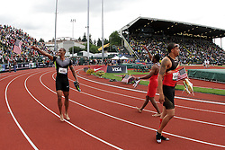 2012 USA Track & Field Olympic Trials: men's 200 meters, Mitchell, Young, Spearmon take victory lap