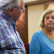 FORT LAUDERDALE, FLORIDA, NOVEMBER 2, 2018<br /> Herbert, 72, and Arlene Moses, 76, who went to  Pittsburgh's Squirrel Hill Synagogue went they lived there,  following family Shabbat service at Temple Bat Yam of East Fort Lauderdale. The reform congregation of 220 families was congregating for the first time since the deadly shooting in Pittsburgh on October 27.<br /> (Photo by Angel Valentin/Freelance)