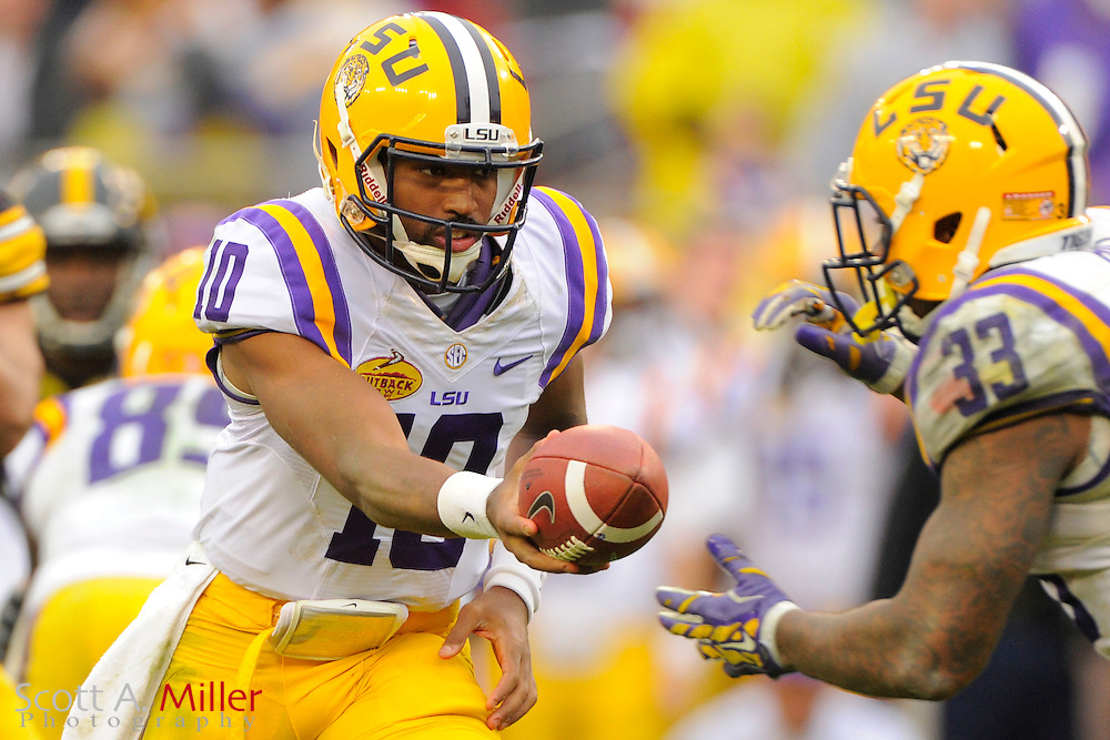 LSU Tigers  quarterback Anthony Jennings (10) during LSU's 21-14 win over the Iowa Hawkeyes in the 2014 Outback Bowl at Raymond James Stadium on Jan 1, 2014  in Tampa, Florida. ©2014 Scott A. Miller