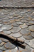 Slate roof detail, Pal, La Massana, Andorra, Europe