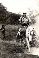 El lideder del Partido Comunista Salvadoreño Comandante Jorge Schafik Handal se traslada por las montañas durante el conflicto salvadoreño. El partido Comunista fue la ultima organización de izquierda que se incorporo a la guerrilla que combatir (1970-1992) en la guerra civil salvadoreña. Photo: Imagenes Libress