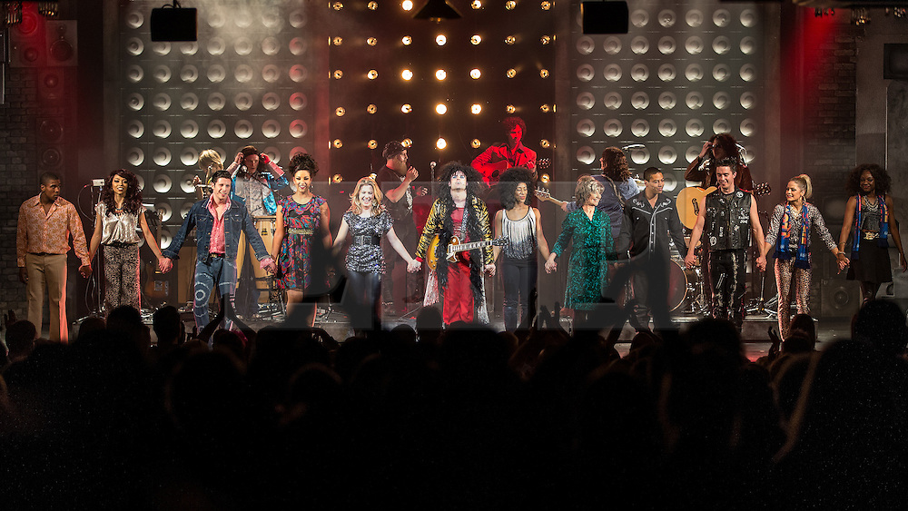 © Licensed to London News Pictures . 22/04/2014 . Manchester , UK . Curtain call . The opening night of 20th Century Boy , the musical based on the career of Marc Bolan of T-Rex in which Warren Sallars plays Marc Bolan, at the Manchester Opera House , Quay Street , Manchester . Photo credit : Joel Goodman/LNP