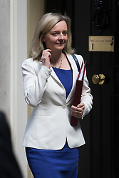 Downing Street, London, July 5th 2016. Environment Food and Rural Affairs Secretary Elizabeth Truss leaves 10 Downing Street following the weekly cabinet meeting.