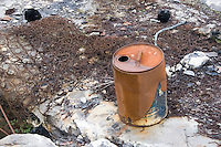 Rusty tin can and mattress springs dumped on Inis Oirr the Aran Islands Galway Ireland