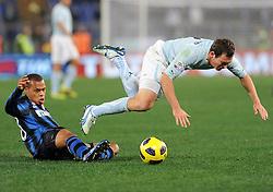 03.12.2010, Stadio Olimpico, Rom, ITA, Serie A, Lazio Rom vs Inter Mailand, im Bild biabyany (inter) e stefan lichtsteiner (lazio)., EXPA Pictures © 2010, PhotoCredit: EXPA/ InsideFoto/ Massimo Oliva         +++++ ATTENTION - FOR AUSTRIA/AUT, SLOVENIA/SLO, SERBIA/SRB an CROATIA/CRO CLIENT ONLY +++++