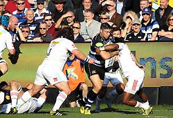 Matt Banahan of Bath Rugby is tackled - Mandatory byline: Robbie Stephenson/JMP - 07966386802 - 31/10/2015 - RUGBY - Recreation Ground -Bath,England - Bath Rugby v Harlequins - Aviva Premiership