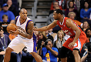 Dec. 23, 2012; Phoenix, AZ, USA; Phoenix Suns guard Shannon Brown (26) handles the ball during the game against the Los Angeles Clippers guard Willie Green (34) at US Airways Center. The Clippers defeated the Suns 103-77. Mandatory Credit: Jennifer Stewart-USA TODAY Sports