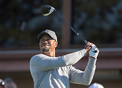 January 27, 2017 - San Diego, Calif, USA - Tiger Woods watches his tee shot on the first hole during the second day of the Farmers Insurance Open golf tournament at Torrey Pines in San Diego, Calif. on Friday, January 27, 2017. (Photo by Kevin Sullivan, Orange County Register/SCNG) (Credit Image: © Kevin Sullivan/The Orange County Register via ZUMA Wire)