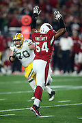 Arizona Cardinals inside linebacker Dwight Freeney (54) leaps while trying to block a pass during the NFL NFC Divisional round playoff football game against the Green Bay Packers on Saturday, Jan. 16, 2016 in Glendale, Ariz. The Cardinals won the game in overtime 26-20. (©Paul Anthony Spinelli)