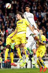 01.03.2015, Estadio Santiago Bernabeu, Madrid, ESP, Primera Division, Real Madrid vs FC Villarreal, 25. Runde, im Bild Varane of Real Madrid and Pina of Villarreal // during the Spanish Primera Division 25th round match between Real Madrid CF and Villarreal at the Estadio Santiago Bernabeu in Madrid, Spain on 2015/03/01. EXPA Pictures &copy; 2015, PhotoCredit: EXPA/ Alterphotos/ Caro Marin<br /> <br /> *****ATTENTION - OUT of ESP, SUI*****
