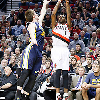 06 December 2013: Portland Trail Blazers small forward Dorell Wright (1) takes a jumpshot over Utah Jazz shooting guard Gordon Hayward (20) during the Portland Trail Blazers 130-98 victory over the Utah Jazz at the Moda Center, Portland, Oregon, USA.