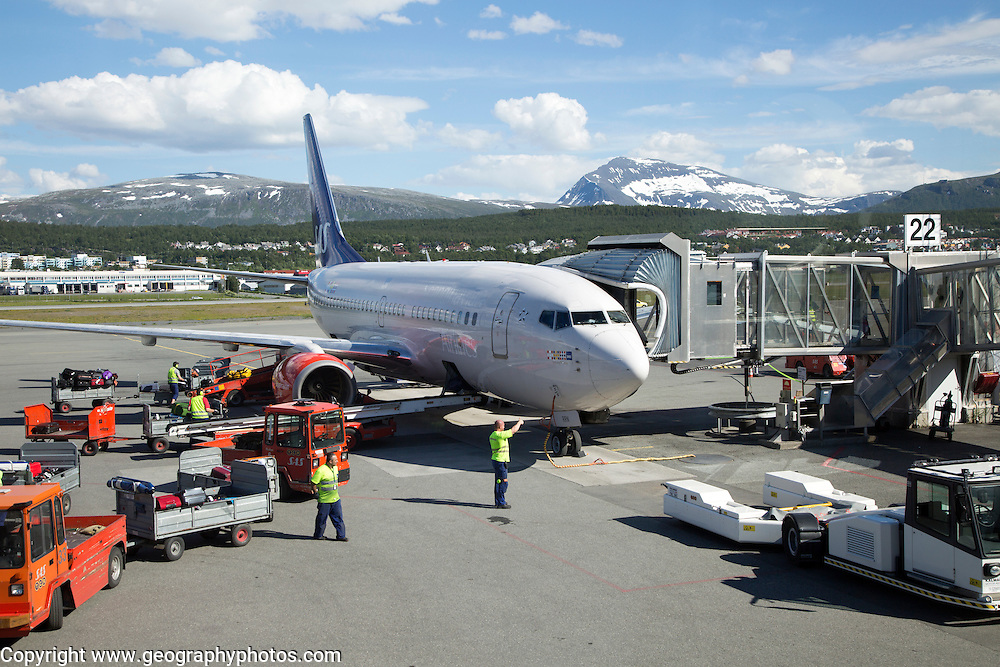 Plane being loaded at the airport, Tromso, Norway