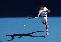 MELBOURNE, Jan. 22, 2018  Roger Federer of Switzerland competes during the men's singles fourth round match against Marton Fucsovics of Hungary at Australian Open 2018 in Melbourne, Australia, Jan. 22, 2018. Roger Federer won 3-0. (Credit Image: © Bai Xuefei/Xinhua via ZUMA Wire)