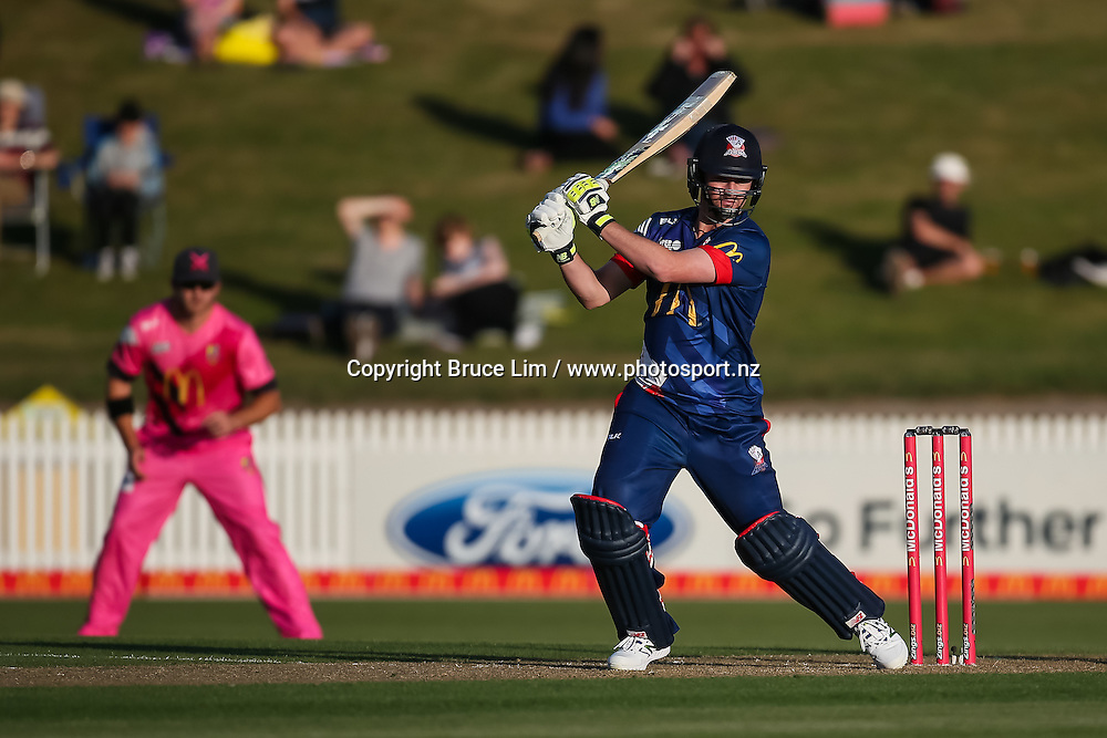 Auckland Aces' Colin Munro batting during the McDonalds Super Smash T20 cricket match - Knights v Aces played at Seddon Park, Hamilton, New Zealand on Saturday 17 December.<br /> <br /> Copyright photo: Bruce Lim / www.photosport.nz