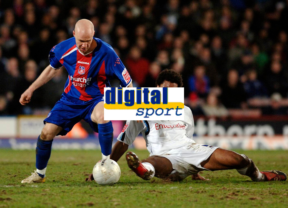 Photo: Daniel Hambury.<br />Crystal Palace v Preston North End. The FA Cup. 07/02/2006.<br />Palace's Andrew Johnson gets away from and Preston's Youl Mawene.