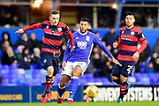 Birmingham City midfielder David Davis (26)  battles for possession with QPR midfielder Luke Freeman (7) during the EFL Sky Bet Championship match between Birmingham City and Queens Park Rangers at St Andrews, Birmingham, England on 16 December 2017. Photo by Dennis Goodwin.