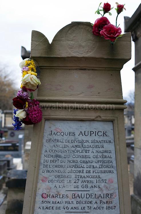 The grave of poet Charles Baudelaire in Montparnasse Cemetery, Paris