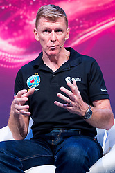 © Licensed to London News Pictures. 28/09/2017. London, UK. British European Space Astronaut Tim Peake appears for the first time on same stage with NASA Apollo 15 American pilot Al Worden,  the first British astronaut in space, Helen Sharman at the New Scientist Live event.  The three legendary astronauts are from different era's. Photo credit: Ray Tang/LNP