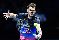 Tennis - 2018 Nitto ATP Finals at The O2 - Day Five<br /> <br /> Group Doubles Group Llodra/Santoro: Jamie Murray (GB) & Bruno Soares (Bra) vs. Henri Kontinen (Fin) & John Peers (Aus)<br /> <br /> Murray volleying at the net.<br /> <br /> COLORSPORT/ASHLEY WESTERN