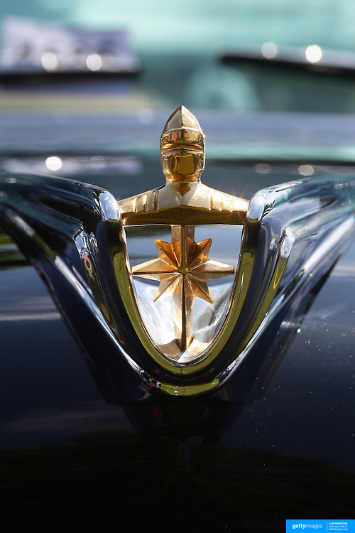 The emblem of a 1956 Lincoln Premier at the Greenwich Concours d'Elegance Festival of Speed and Style featuring great classic vintage cars. Roger Sherman Baldwin Park, Greenwich, Connecticut, USA.  2nd June 2012. Photo Tim Clayton
