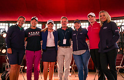 Pictured: Fringe by the Sea, North Berwick, East Lothian, Scotland, United Kingdom, 06 August 2019. Top professional female golfers competing in the Aberdeen Standard Investments Ladies Scottish Open this week appear on a panel and take questions from the audience , as part of a podcast called On the Dance Floor. Pictured: from L to R Angela Stanford (USA), Tiffany Joh (USA), Bronte Law (UK), Richard Loudon partner at sponsor Simpson & Marwick, Beth Allen (USA), Caroline Masson (Germany), sports broadcaster Emma Dodds.<br /> <br /> Sally Anderson | EdinburghElitemedia.co.uk