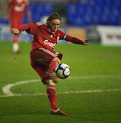 BIRKENHEAD, ENGLAND - Thursday, March 25, 2010: Liverpool's Steven Irwin in action against Wigan Athletic during the FA Premiership Reserves League (Northern Division) match at Prenton Park. (Photo by David Rawcliffe/Propaganda)