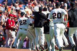 May 30, 2010; San Francisco, CA, USA;  The San Francisco Giants celebrate after defeating the Arizona Diamondbacks at AT&T Park.  San Francisco defeated Arizona 6-5 in 10 innings.