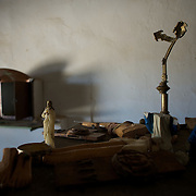 January 21, 2013 - Diabaly, Mali: Religious ornaments are seen desecrated inside of a destroyed catholic church in central Diabaly, a day after Mali government troops regain control of the city. Diabaly was under islamist militants control since the 14th of January.<br />