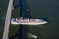 Carnival Pride Cruise ship under the Francis Scott Key Bridge in Baltimore leaving on holiday.