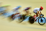 Ashgabat, Turkmenistan - 2017 September 23: (R) Mohammad Ganjkhanlou from Iran competes in <br /> Men's Omnium Scratch Final while Track Cycling competition during 2017 Ashgabat 5th Asian Indoor & Martial Arts Games at Velodrome (VEL) at Ashgabat Olympic Complex on September 23, 2017 in Ashgabat, Turkmenistan.<br /> <br /> Photo by © Adam Nurkiewicz / Laurel Photo Services
