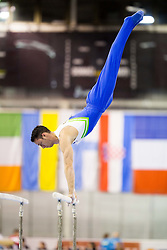Alen Dimic of Slovenia competes in the Parallel Bars during Qualifiying day  of Artistic Gymnastics World Challenge Cup Ljubljana, on April 18, 2014 in Hala Tivoli, Ljubljana, Slovenia. Photo by Vid Ponikvar / Sportida
