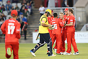 Lancashires Matthew Parkinson claims another wicket during the Vitality T20 Blast North Group match between Lancashire Lightning and Birmingham Bears at the Emirates, Old Trafford, Manchester, United Kingdom on 10 August 2018.