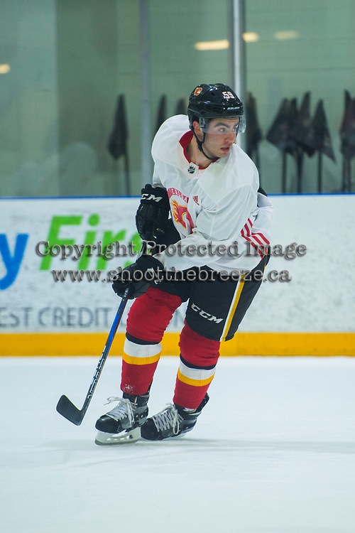 PENTICTON, CANADA - SEPTEMBER 9: Dillon Dube #59 of Calgary Flames skates during morning ice on September 9, 2017 at the South Okanagan Event Centre in Penticton, British Columbia, Canada.  (Photo by Marissa Baecker/Shoot the Breeze)  *** Local Caption ***